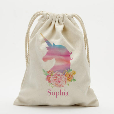 Rose Unicorn Personalized Drawstring Sack.