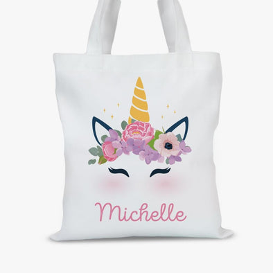 Personalized Unicorn Kids Tote Bag.
