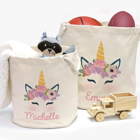 Custom Kids Canvas Storage Bucket Hamper w/ Rope Handles, Unicorn Design | Personalize with name.