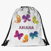 Butterflies Custom Kids Flip Sequin Drawstring Bag | Personalized Backpacks
