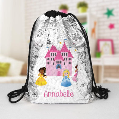 Princess Castle Custom Kids Flip Sequin Drawstring Backpack