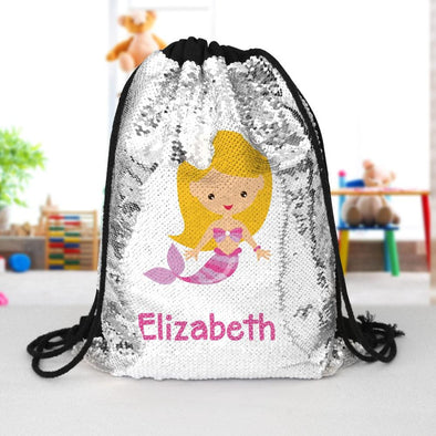 Mermaid Custom Kids Flip Sequin Drawstring Bag | Personalized Backpacks