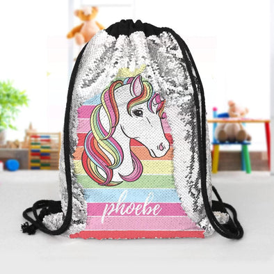 Rainbow Unicorn Custom Kids Flip Sequin Drawstring Bag | Personalized Backpacks.
