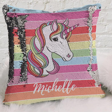 Rainbow Unicorn Personalized Flip Sequin Decorative Throw Pillowcase.