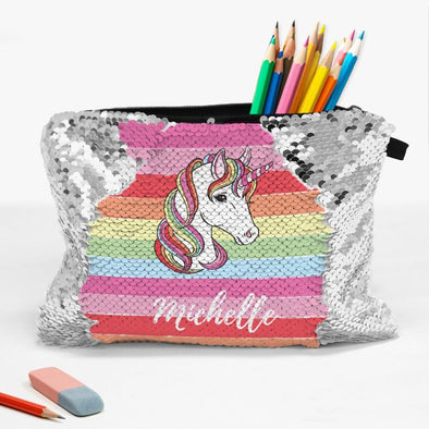 Rainbow Unicorn Custom Sequin Kids Accessories Bag | School Pencil Pouch.