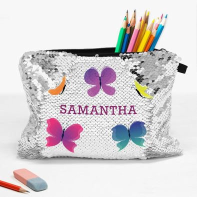 Butterflies Custom Sequin Kids Accessories Bag | School Pencil Pouch
