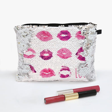 Lip Prints Custom Kisses Flip Sequin Makeup Bag.