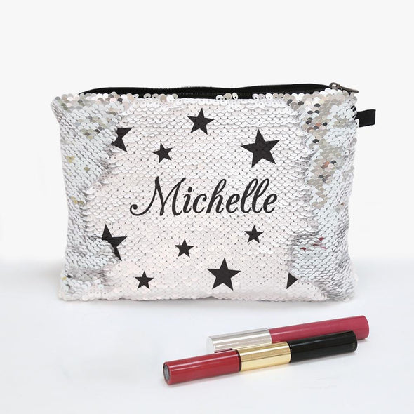 Stars Sequin Makeup Bag Zippered Accessories Pouch.