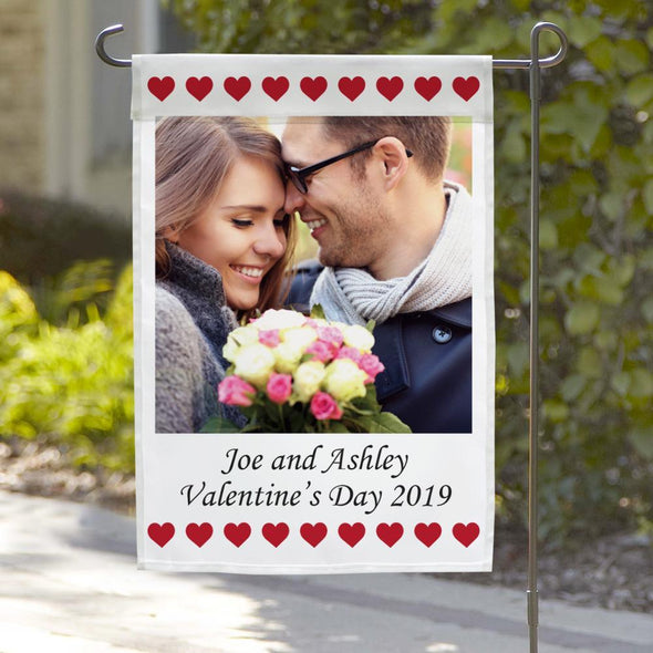 Photo Personalized Valentine's Garden Flag.