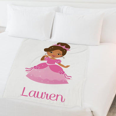 Princess Personalized Throw Fleece Blanket for Kids | Customized w/ Name Blanket