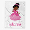 Princess Personalized Throw Fleece Blanket for Kids | Customized w/ Name Blanket.