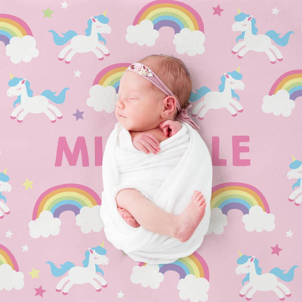 Rainbow Unicorn Name Personalized Kids Blanket