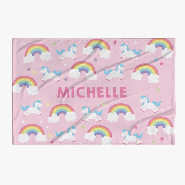 Rainbow Unicorn Name Personalized Kids Blanket.
