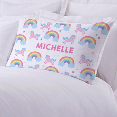 Rainbow Unicorn Personalized Kids Sleeping Pillowcase.