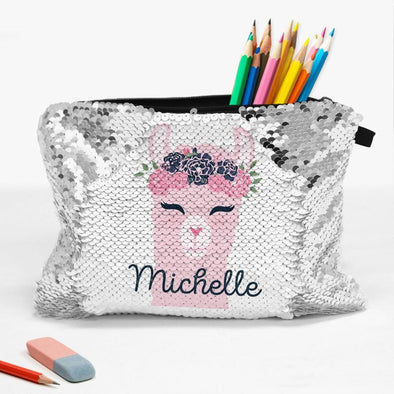 Llama Personalized Flip Sequin Makeup, Cosmetics Bag.