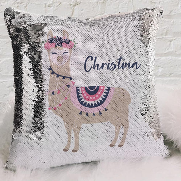 Llama Personalized Flip Sequin Decorative Pillowcase
