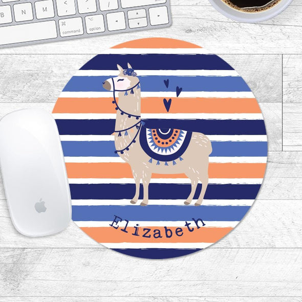 Llama Personalized Soft Round Mouse Pad.