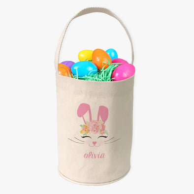 Easter Rabbit Custom Canvas Mini Tote Bucket.