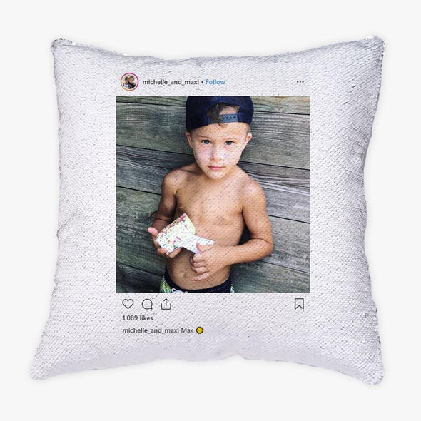 Instagram Photo Personalized Flip Sequin Pillow.