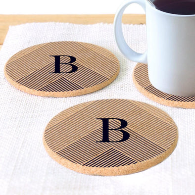 Custom Initial Lined Round Cork Coasters - Set of 2 or 4.