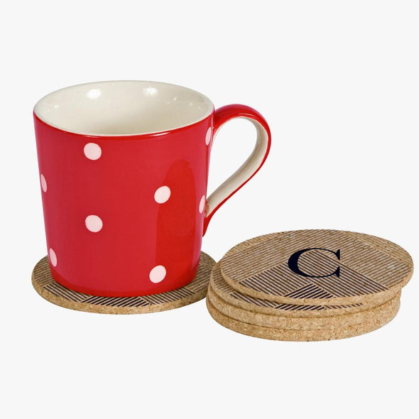 Custom Initial Lined Round Cork Coasters - Set of 2 or 4