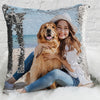 Pet Photo Personalized Sequin Pillow Case | Custom Mermaid Pillow Throw.
