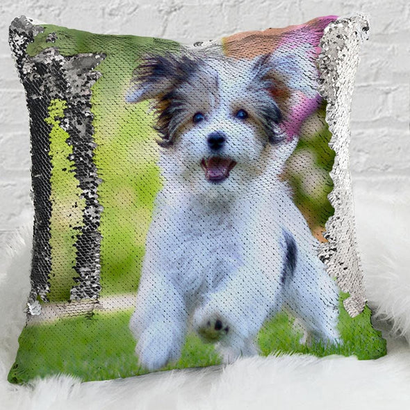 Pet Photo Personalized Sequin Pillow Case | Custom Mermaid Pillow Throw