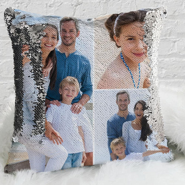 Personalized Sequin Pillow Case with Your Photo Collage | Custom Magic Reversible Mermaid Sequin Throw