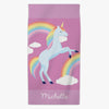 Rainbow Unicorn Personalized Beach or Bath Towel for Kids.