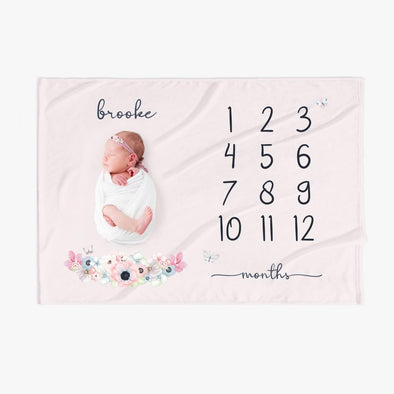 Name Personalized Baby Months Blanket