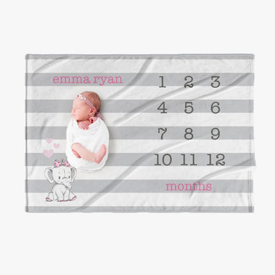 Striped Pink Name Personalized Baby Months Blanket.
