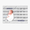 Striped Blue Baby Months Blanket Personalized w/ Name