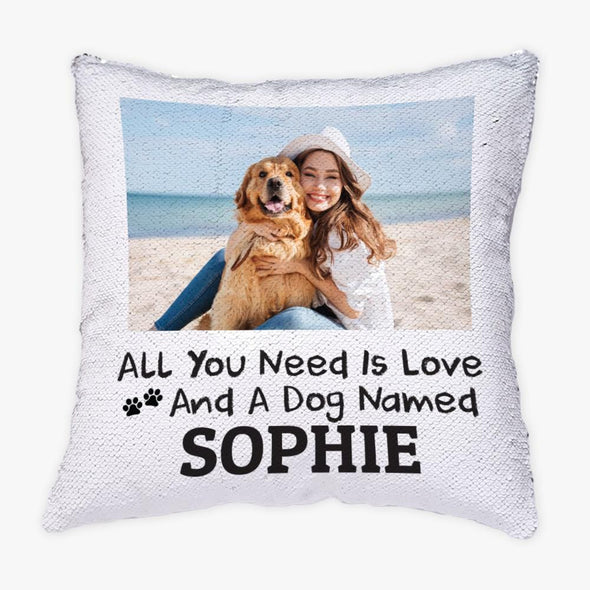 Paw Personalized w/ Photo Sequin Pillow for Pets, Dogs and Cats.