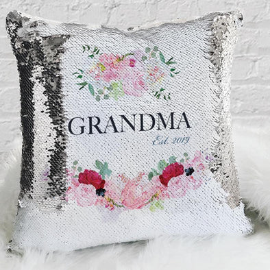 Grandma Name Personalized Decorative Sequin Throw Pillowcase