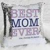 Best Mom Ever Personalized Name Decorative Sequin Throw Pillowcase