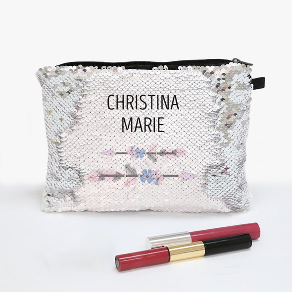 Best Mom Ever Name Flip Sequin Makeup Pouch Bag
