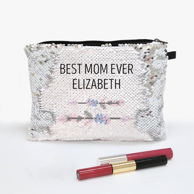 Best Mom Ever Name Flip Sequin Makeup Pouch Bag.