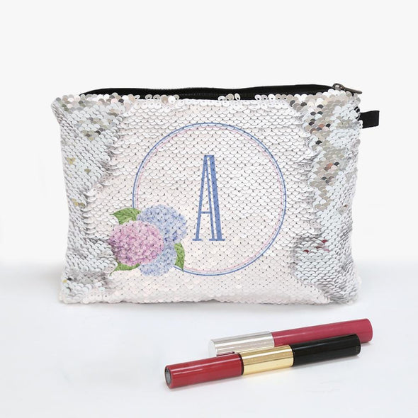 Floral Initial Personalized Flip Sequin Makeup Pouch Bag