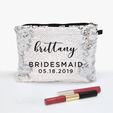 Bridesmaid Personalized Flip Sequin Makeup Pouch Bag.