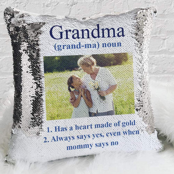 Meaning Of A Mother Personalized Photo Decorative Sequin Throw Pillowcase.