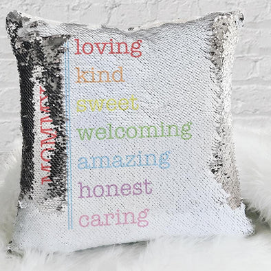Loving Personalized Name Decorative Sequin Throw Pillowcase
