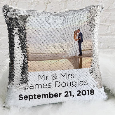 Mr & Mrs Personalized Wedding Sequin Pillow Case of Your Photo | Custom Magic Reversible Mermaid Sequin Throw.