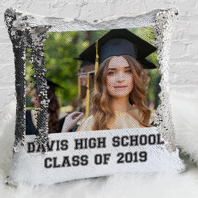 Graduation Personalized Photo Decorative Sequin Throw Pillowcase