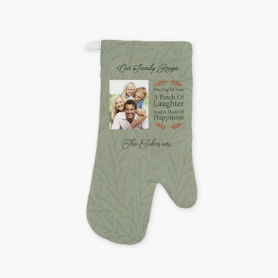 Family Recipe Photo Personalized Oven Mitt.