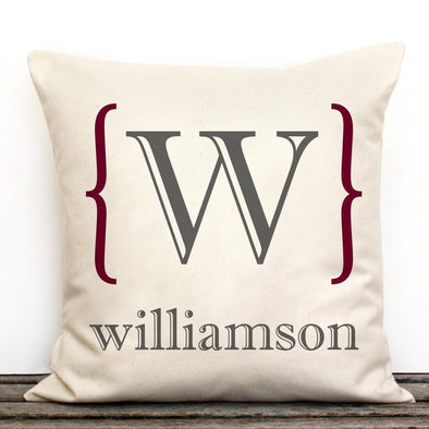 Family Initial Personalized Decorative Canvas Throw Pillow.