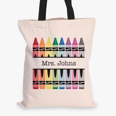 Crayons Personalized Teacher Black Handle Tote Bag  | Custom Teacher Gift.