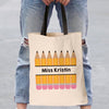 Pencils Personalized Teacher Black Handle Tote Bag  | Custom Teacher Gifts.