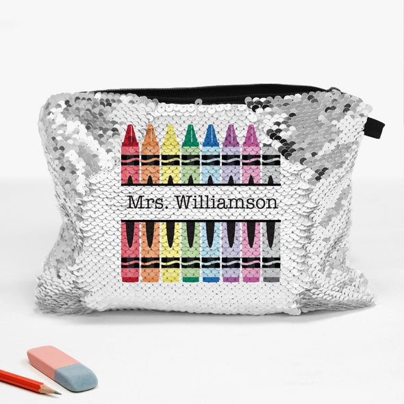 Crayons Personalized Sequin Makeup, Cosmetics, Accessory Bag