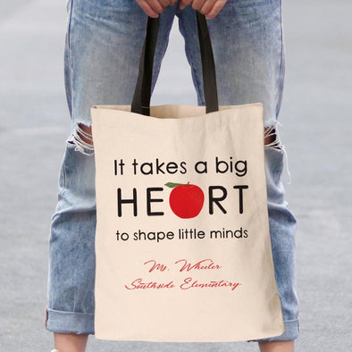 Big Heart Teacher Personalized Black Handle Tote Bag | Custom Teacher Gifts