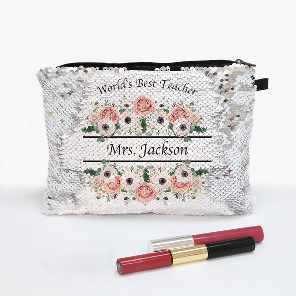 World's Best Teacher Custom Flip Sequin Makeup Pouch Bag